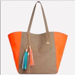 Big Buddha faux leather reversible tote.